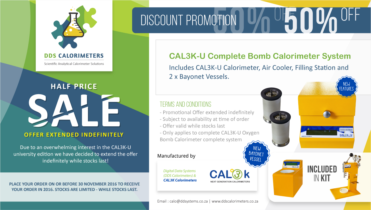 Get 50% Off the CAL3K-U University Edition Oxygen Bomb Calorimeter + Free Coupons